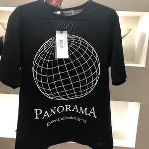 "Études black unity t-shirt with ""Panorama"" print"